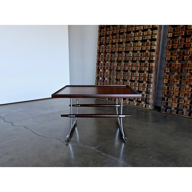 Chrome Jens Quistgaard Rare Pair of Rosewood Tables for Nissen Denmark, 1960 For Sale - Image 7 of 13