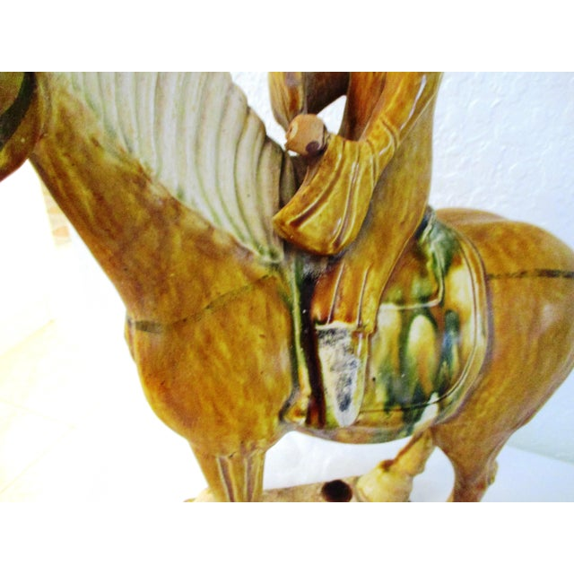 1970s Vintage Large Pottery Tang Design Stallion Figurine For Sale - Image 5 of 9