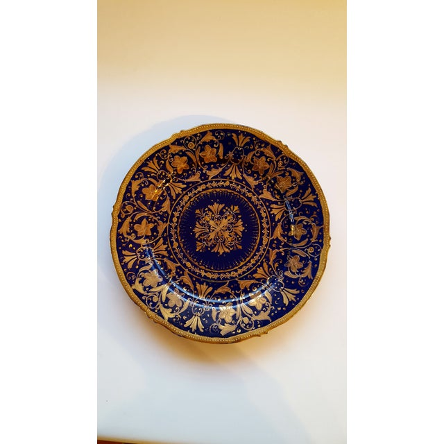 Late 18th Century Antique Nippon Signed Colbalt Blue & Gold Gilted Porcelain Collector Plate For Sale - Image 5 of 5