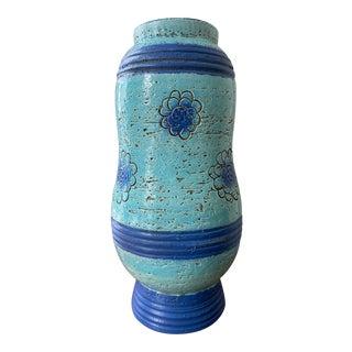Vintage Bitossi Blue Pottery Vase For Sale