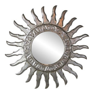 Silver Gilt Sunburst Mirror C. 1940's For Sale