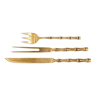 Faux Bamboo Brass Carving Flatware - Set of 3