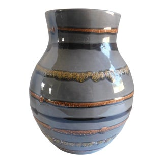 Fabulous Grey Striped Vintage Vase For Sale