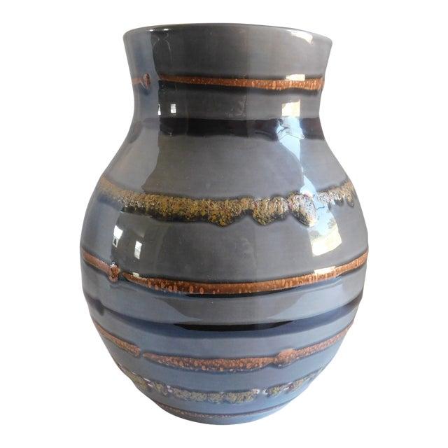 Fabulous Grey Striped Vintage Vase For Sale