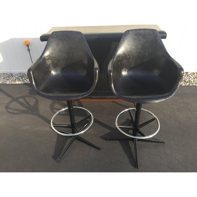 Mid-Century Black Vinyl Bar & Bar Stools - Set of 3 - Image 8 of 11