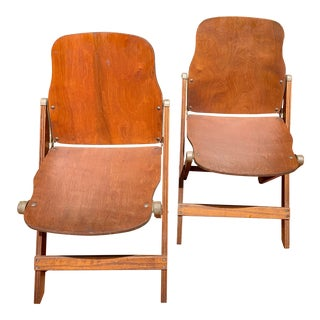 American Seating Co. Vintage Wooden Folding Chairs - a Pair For Sale