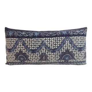 Blue and White Indian Batik Bolster Throw Pillow For Sale