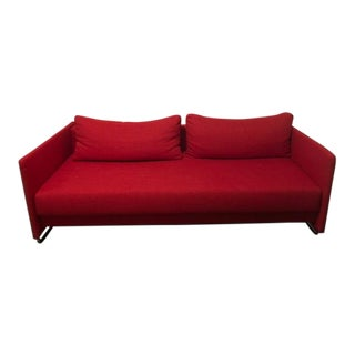 West Elm Modern Red Upholstered Sleeper Sofa / Couch For Sale