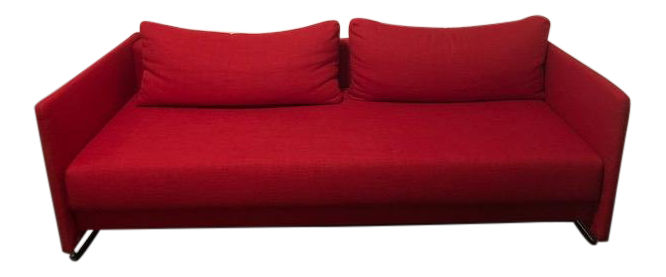 West Elm Modern Red Upholstered Sleeper Sofa / Couch