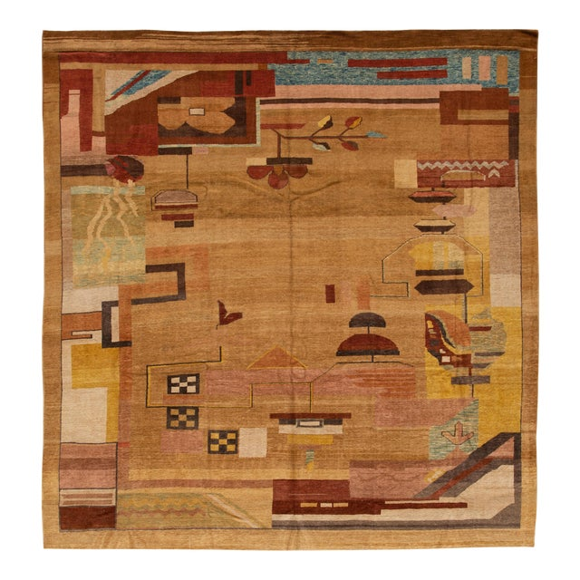 Vintage Art Deco Style Square Wool Rug For Sale
