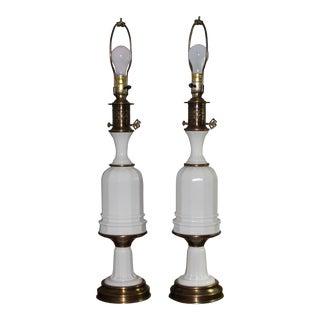 Paul Hanson White Opaline Glass Table Lamps - a Pair