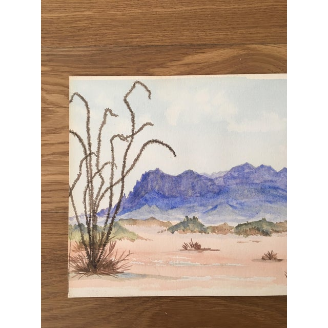 Contemporary Vintage Desert Watercolor Painting For Sale - Image 3 of 6