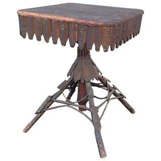 20th Century Folk Art Adirondack Twig and Bark Side Table