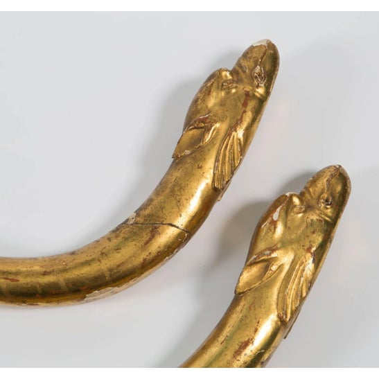 Late 18th Century 18th Century Gold Leaf Dolphin Shaped Ornaments - a Pair For Sale - Image 5 of 11