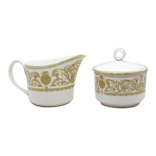 1960s Chippendale Royal Worcester Hyde Park Cream & Sugar - 2 Pieces
