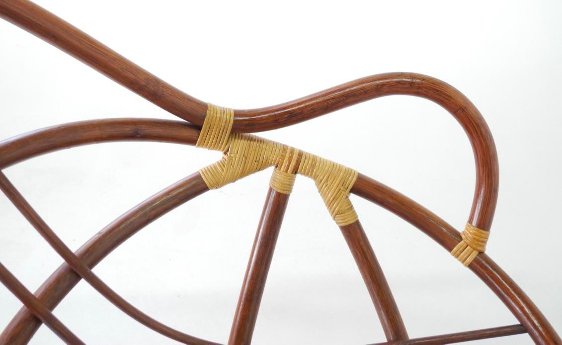Mid Century Swivel Rattan Bamboo Pod Chair Amp Ottoman