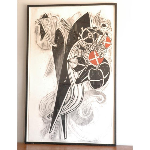 Large Charcoal and Vermilion Pastel Drawing by John Monti For Sale - Image 9 of 9