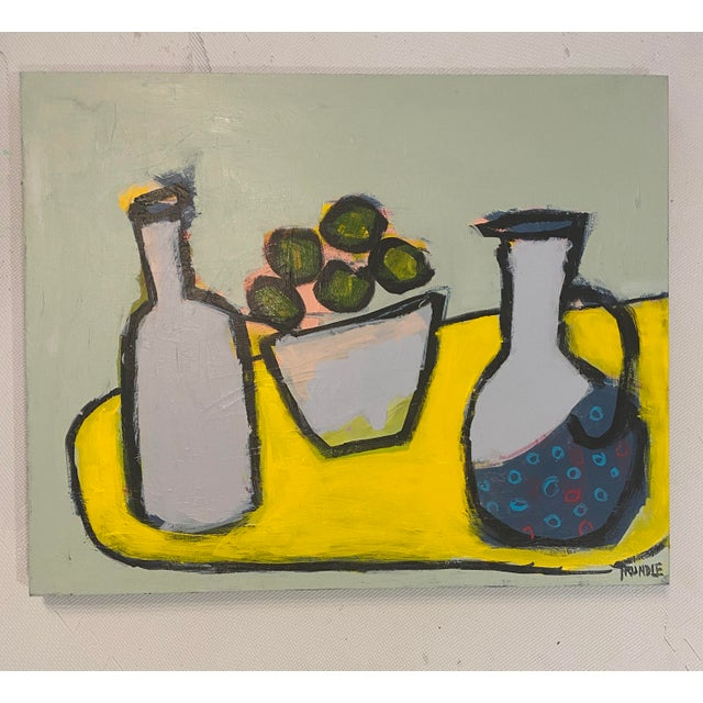 "Abstract Still Life ""Limes With Polka Dot Pitcher"" by Sarah Trundle For Sale - Image 6 of 6"