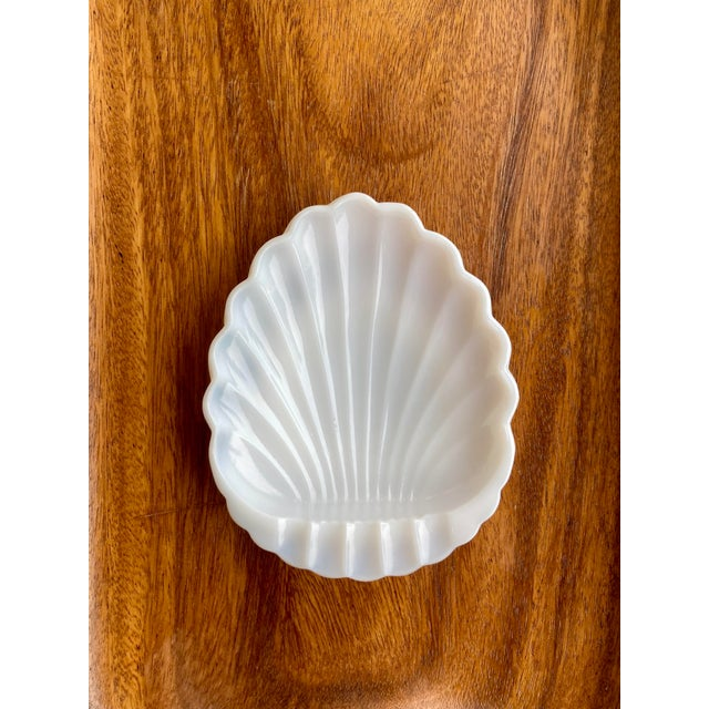 Vintage Milk Glass Sea Shell Ashtray Catchall For Sale - Image 4 of 4
