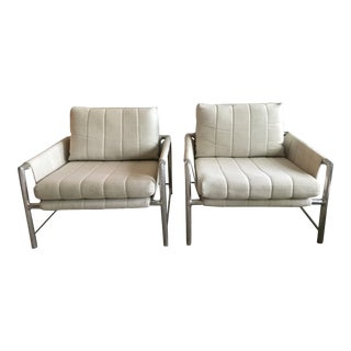 Founders Extruded Aluminum Sling Lounge Chairs - A Pair For Sale