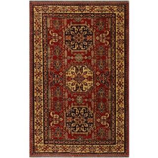 Super Kazak Garish Clyde Red/Tan Wool Rug - 4'3 X 5'8
