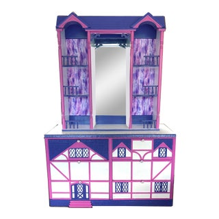 Tudor Style Pink & Purple Doll House Dresser Hutch For Sale