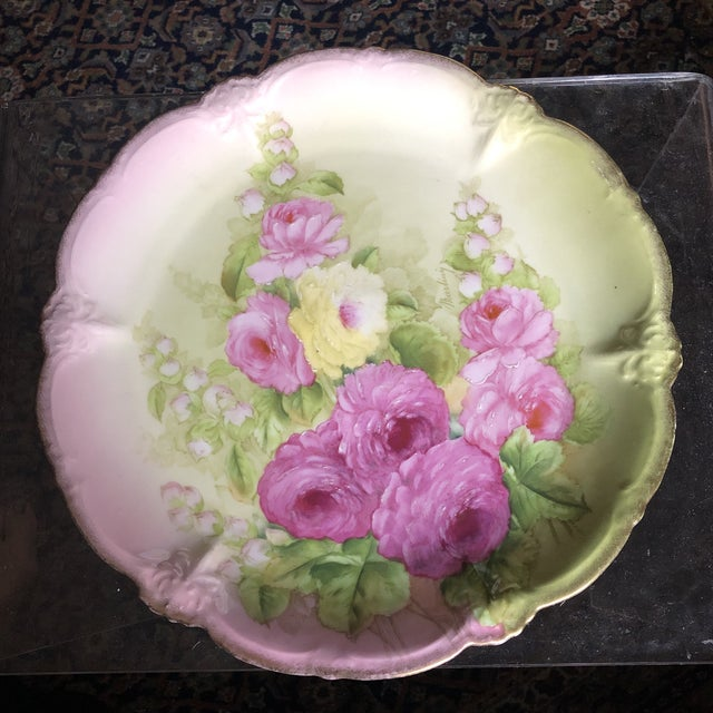 Vintage Hand Painted and Signed Vintage Bavarian Charger Plate For Sale - Image 13 of 13