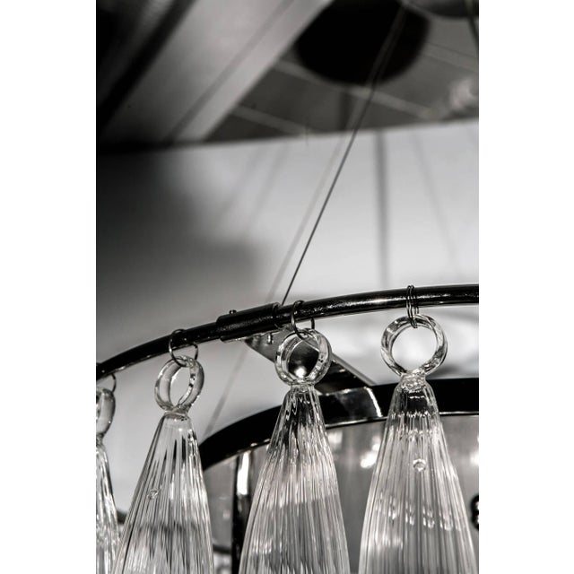 Tassels Clear Murano Glass Chandelier on a Chrome Base For Sale - Image 4 of 8