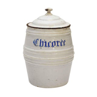 Early 20th Century Vintage White Chircorée French Pot For Sale
