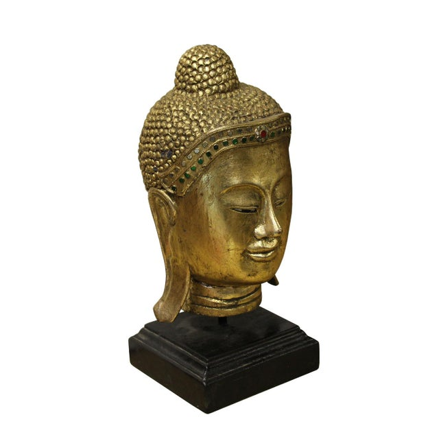 Boho Chic Handcrafted Gold Wood Serene Peaceful Buddha Head On Stand For Sale - Image 3 of 5