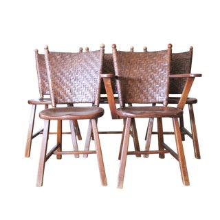Old Hickory Martinsville Indiana Wicker Woven Back Chairs - Set of 5 For Sale