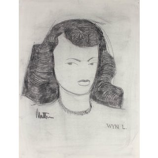 Rip Matteson Monochromatic Modernist Portrait Illustration of a Woman in Charcoal, Circa 1945 Circa 1945 For Sale