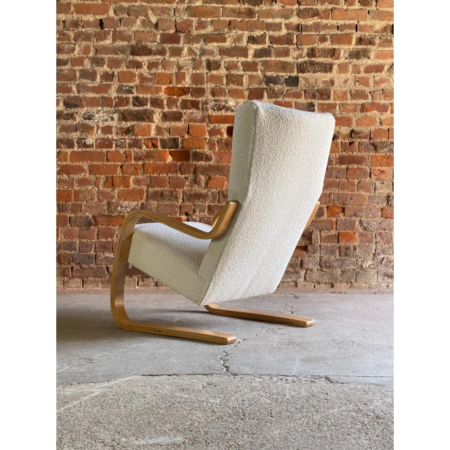 1940s 1940s Vintage Alvar Aalto Model 401 Cantilever Lounge Chair in Bouclé by Finmar For Sale - Image 5 of 12