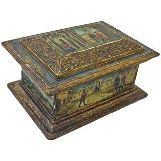 19th Century Traditional Minature Wooden Coffer