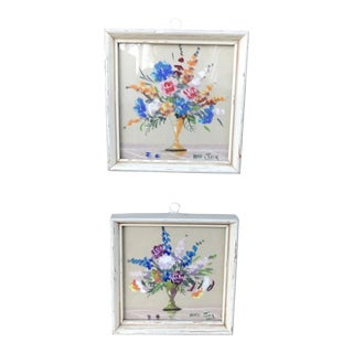 Original Still Life Floral Pastel Drawings by Mimi Joy (Mabel C. Heyde) - a Pair For Sale