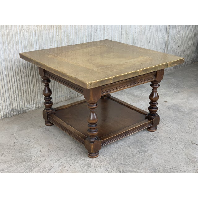 French 19th Spanish Zinc Top Coffe or Center Table With Turned Legs and Lower Tray For Sale - Image 3 of 12