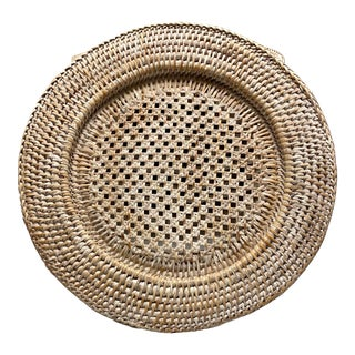 Set 10/Rattan Chargers Whitewashed For Sale