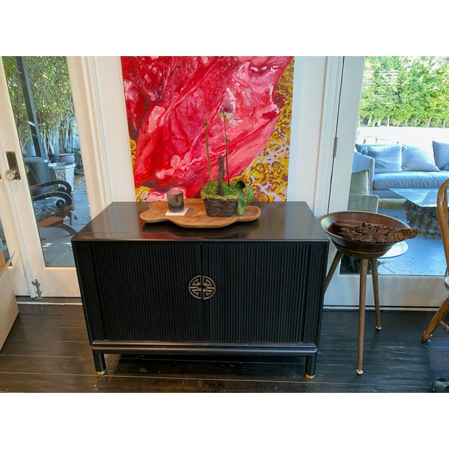 Black Chinoiserie Tambour Storage Cabinet For Sale - Image 8 of 9