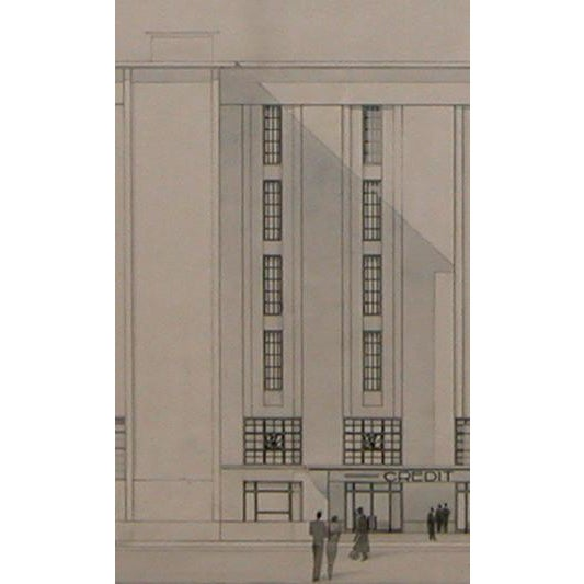 1930s Grand-Scaled French Architectural Drawing For Sale - Image 5 of 6