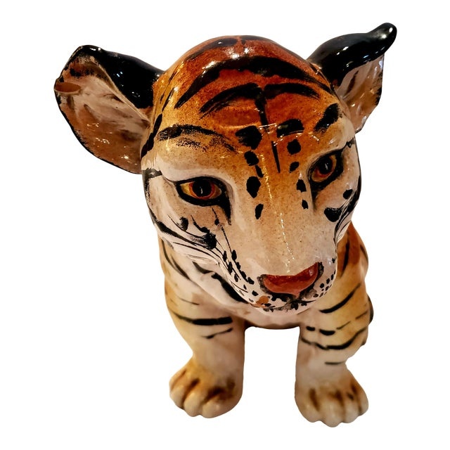 Italian Ceramic Tiger Cub Sculpture For Sale