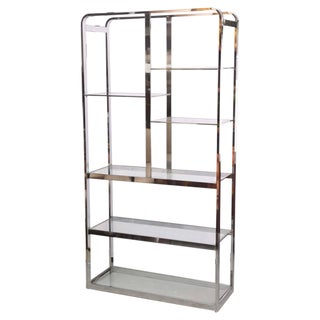 Milo Baughman Chrome Etagere, Book Shelves, 1970s Usa For Sale