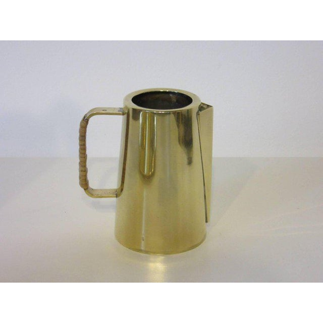 """A handmade brass coffee or tea set by jeweler Einar Dragsted (1887-1967) including a large pot with measures of lid 12""""..."""