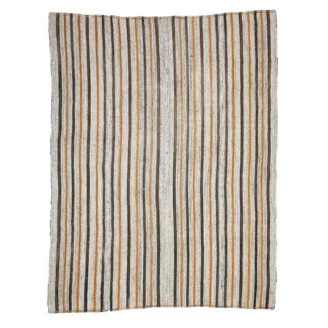 1960s Vintage Striped Kilim Rug- 6′10″ × 8′10″ For Sale