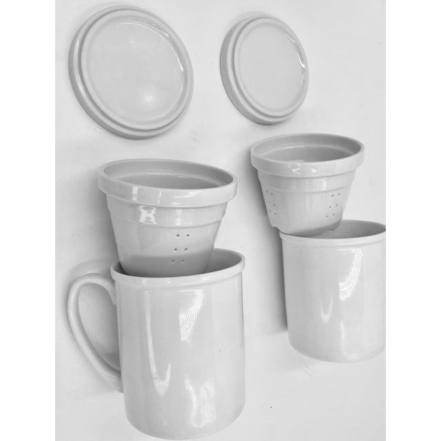 Japanese Japanese Ceramic Porcelain White Tea Leaf Cups a Pair Set of Two 2 Lid Infuser Strainer Builtin Antique Vintage For Sale - Image 3 of 7