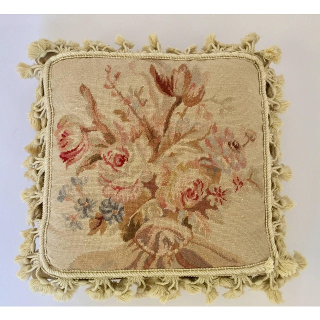 French Provincial Aubusson Style Throw Pillow For Sale - Image 9 of 9