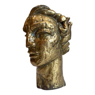 Gilt Sculpted Male Bust For Sale