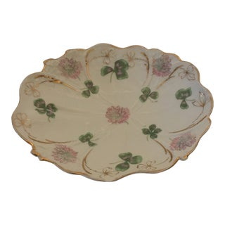 Antique German Porcelain Wedding Candy Dish with Three Leaf Clover For Sale