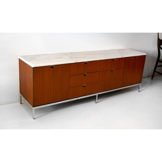 Contemporary Credenza, Teak & Marble by Florence Knoll For Sale - Image 3 of 6
