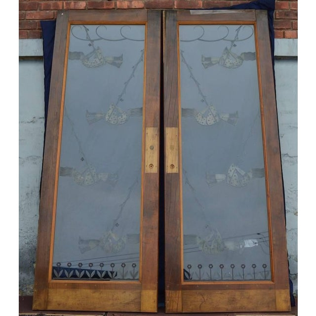 White Pair of Art Deco Etched Glass Doors For Sale - Image 8 of 10
