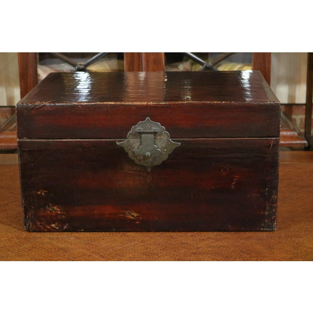Wood 1920s Chinese Black Leather Trunk For Sale - Image 7 of 7